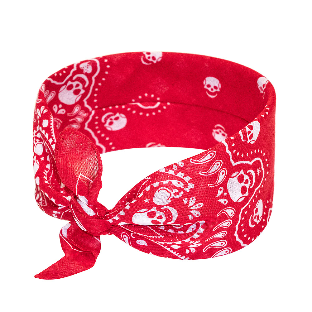 Blue Banana Skull Paisley Bandana (Red/White)