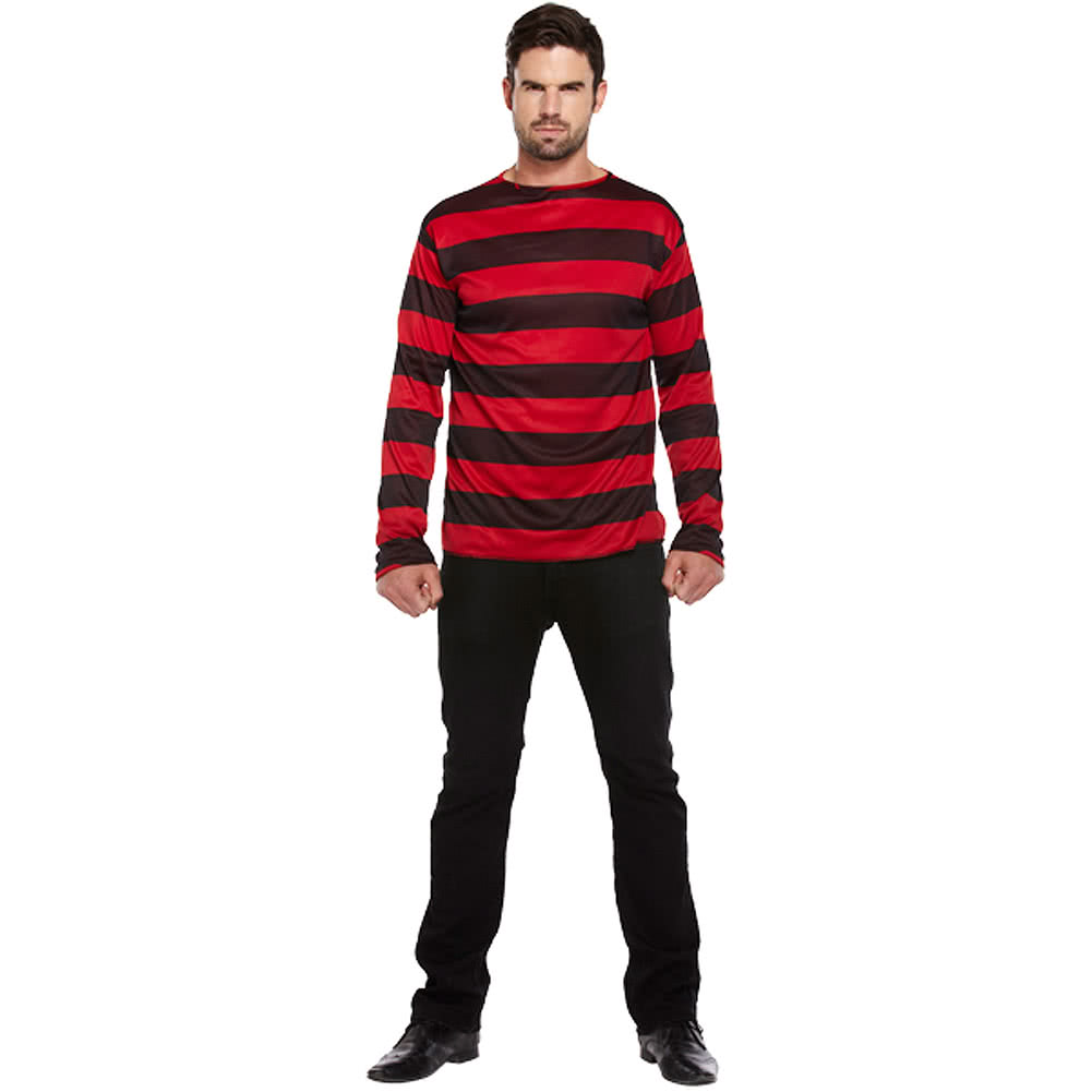 Blue Banana Striped Adult Fancy Dress Jumper (Black/Red)