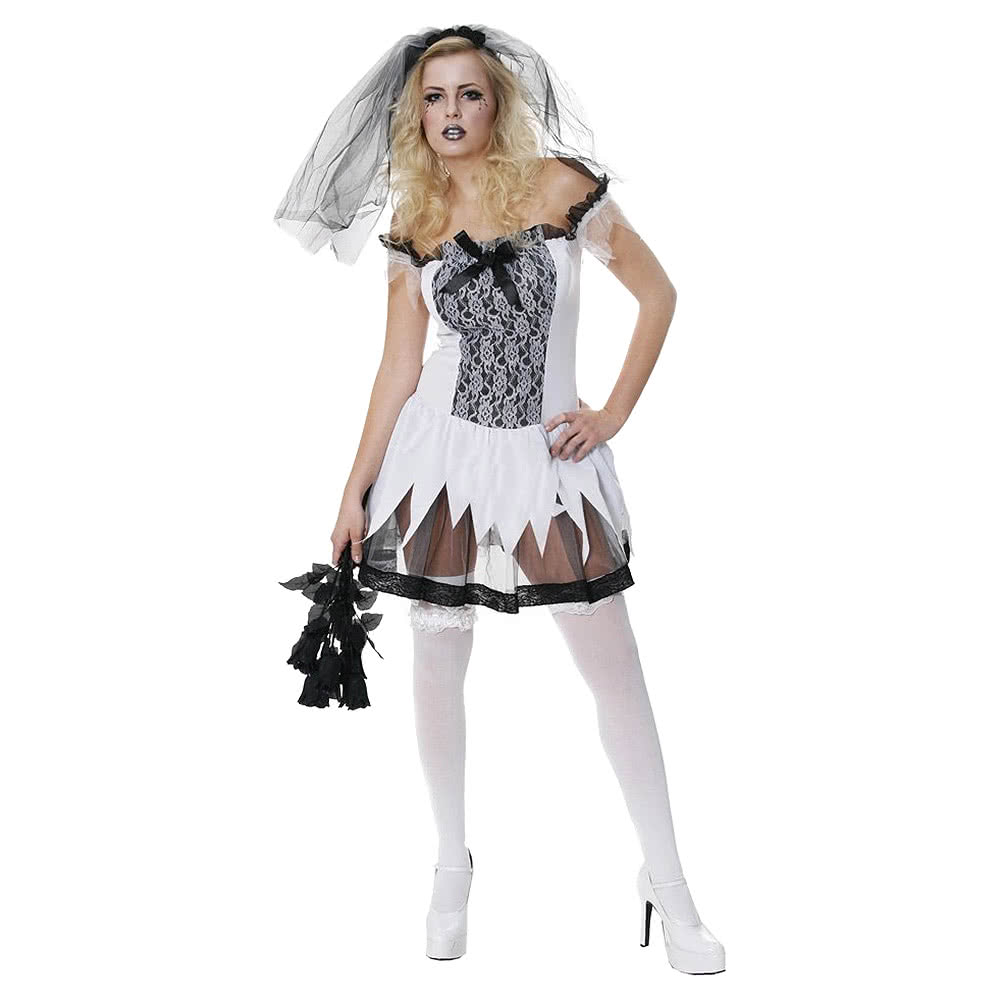 Dead Bride Halloween Costume.Blue Banana Sexy Zombie Bride Fancy Dress Costume Black White