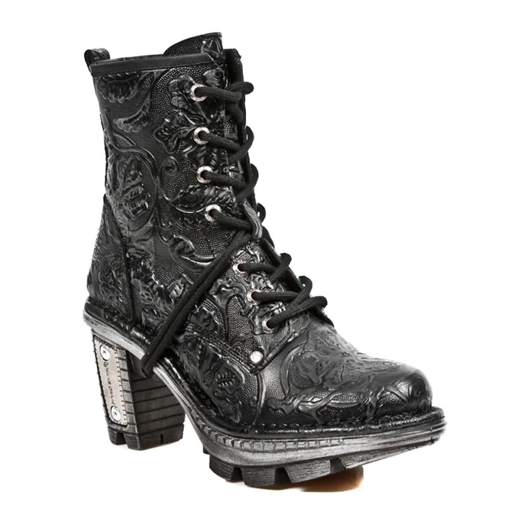 New Rock Style M.NEOTR008-S2 Vintage Flower Boots (Black)