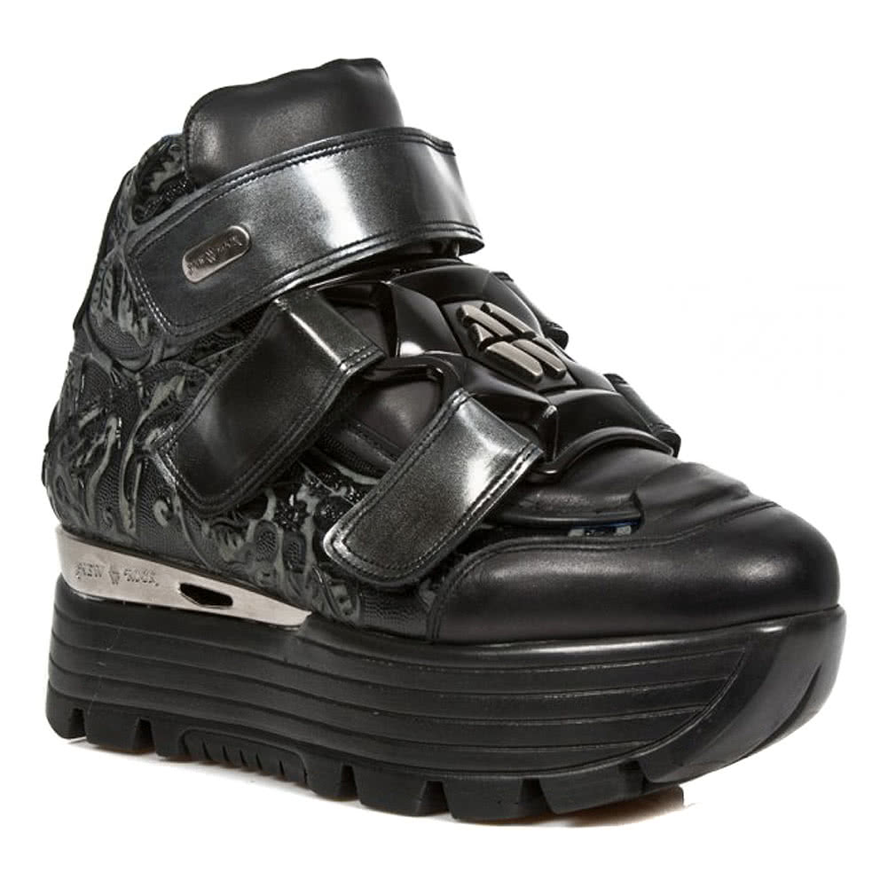 New Rock M.URBAN003-S3 Urban Vintage Platform Shoes (Black)