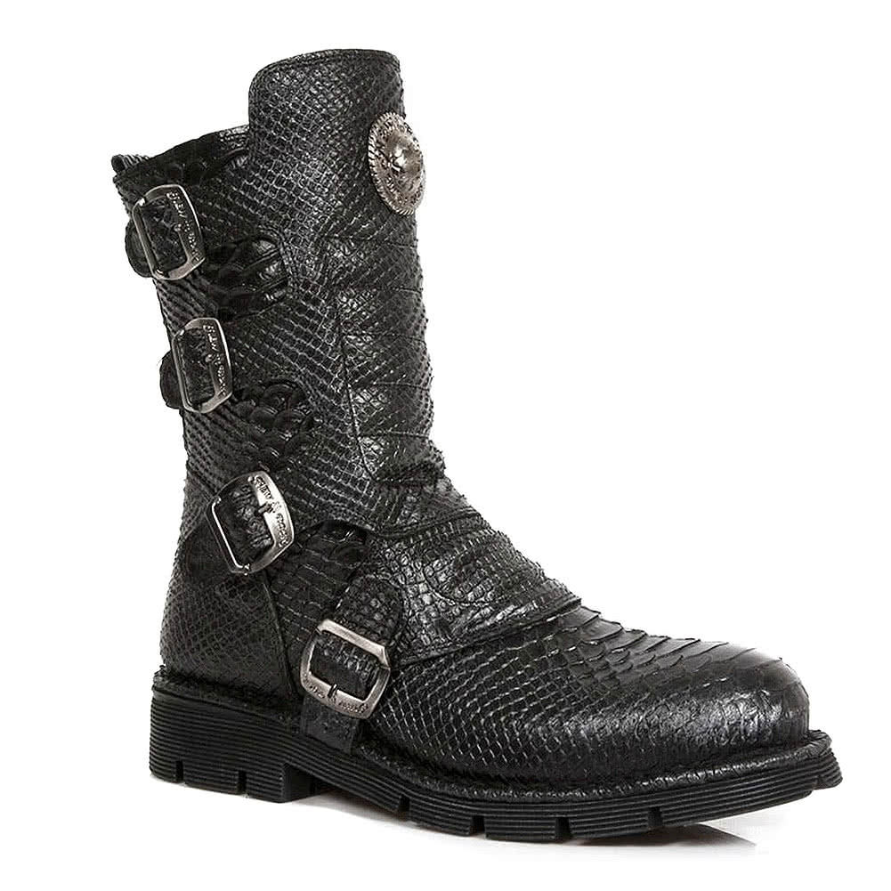 8035b82b480 New Rock Boots Style M.1471-S16 Snakeskin Mens Black Leather Boots