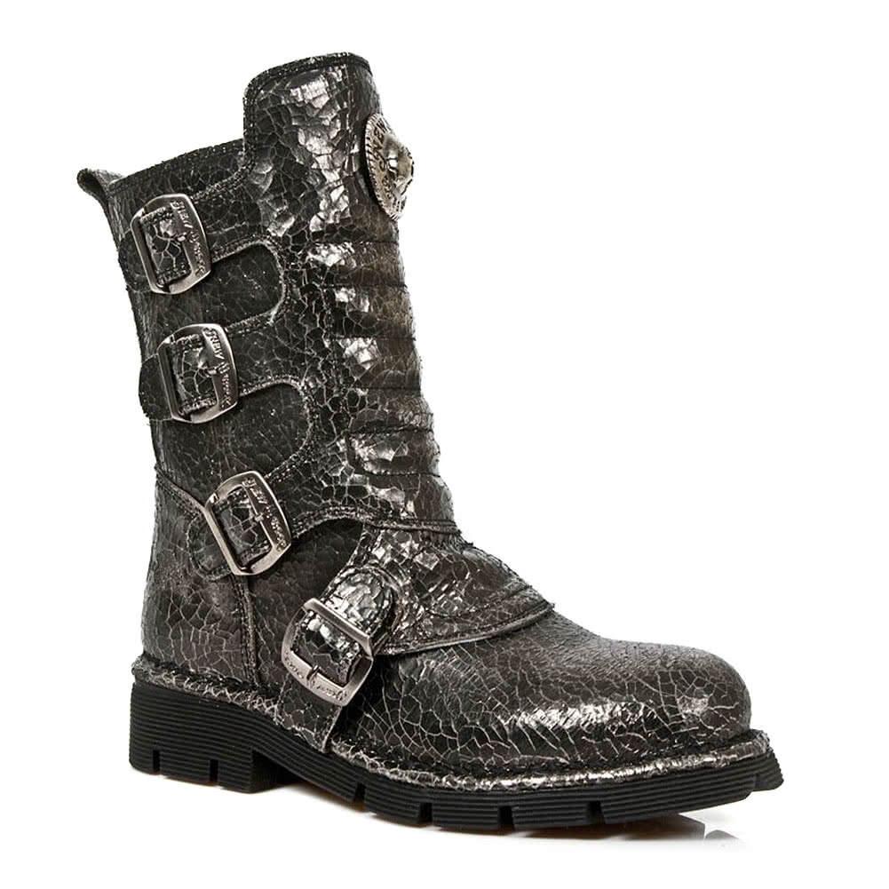 New Rock M.1471-S21 Half Boots (Cracked Black)