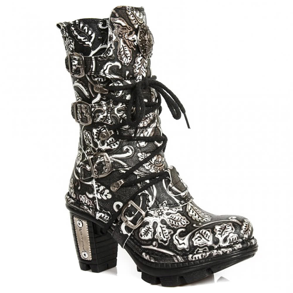 New Rock M.NEOTR005-S34 Vintage Flower Calf Boot (Grey)