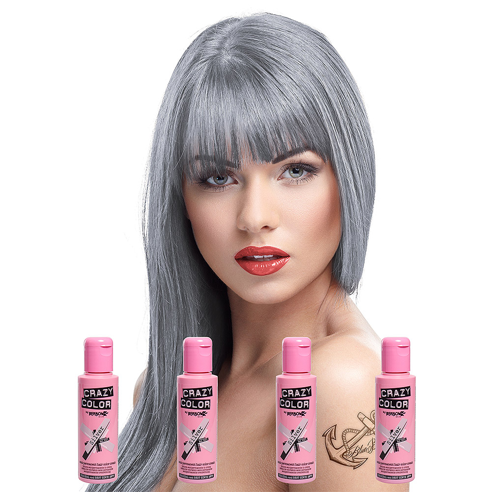 Crazy Colour Pack De 4 Colorations Semi-Permanentes (Silver)