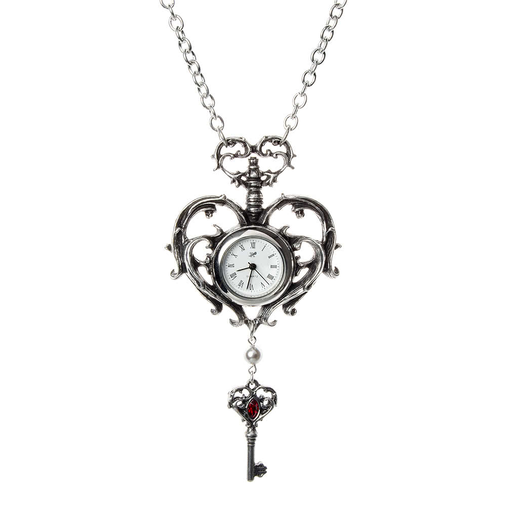 clock swallow pocket necklace watch vintage silver pendant birdy