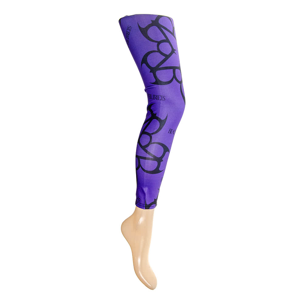Noir Veil Brides Pentagram Leggings - Collants Sans Pieds (Violet)