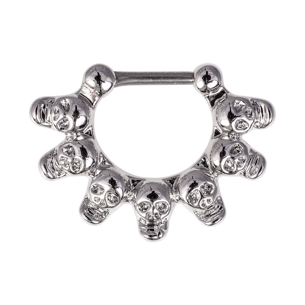 Blue Banana Rhodium Plated 1.2 x 8mm Skull Septum Clicker (Silver)