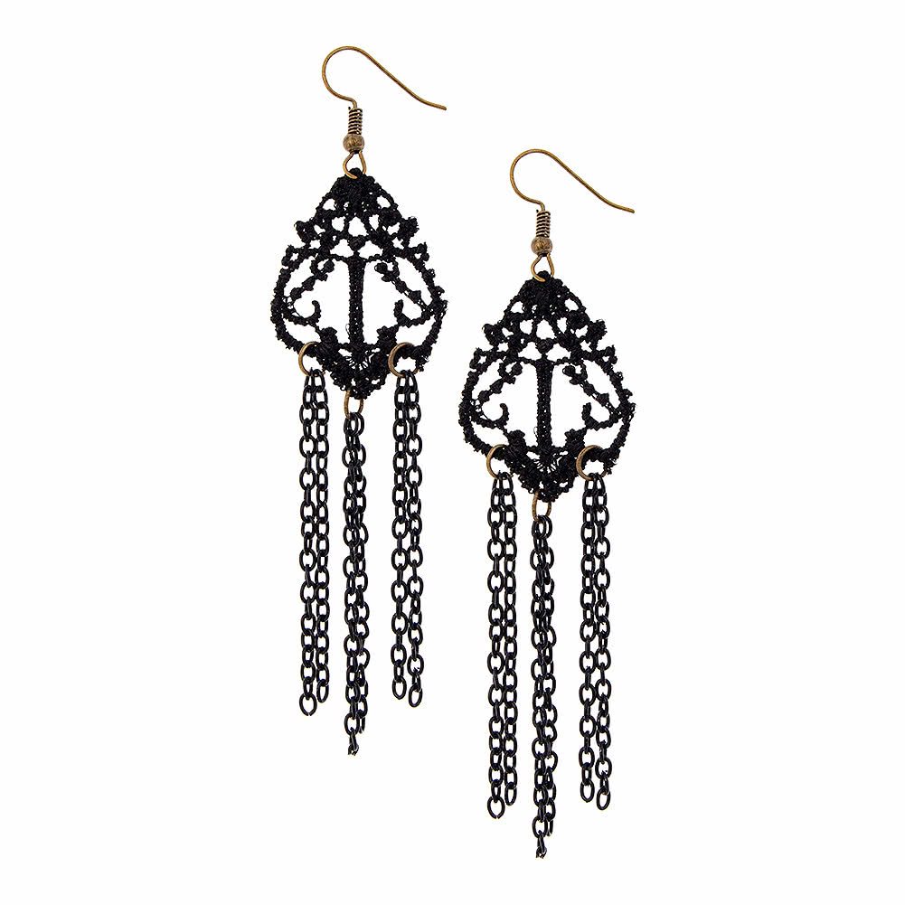 Lace & Chains Earrings (Black)