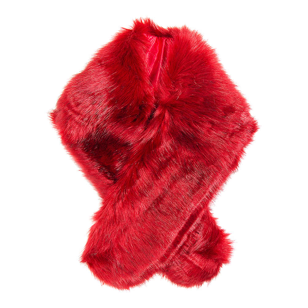 Blue Banana Faux Fur Stole (Red)