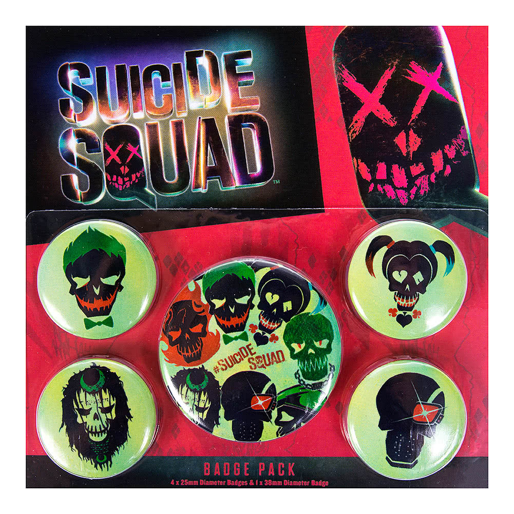 DC Comics Suicide Squad Skulls Badge Pack (Pack of 5)