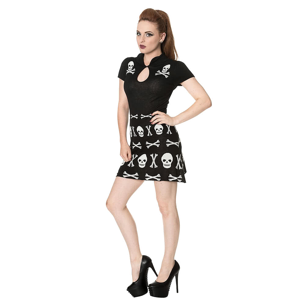 Banned Skull Knitted Dress (Black)