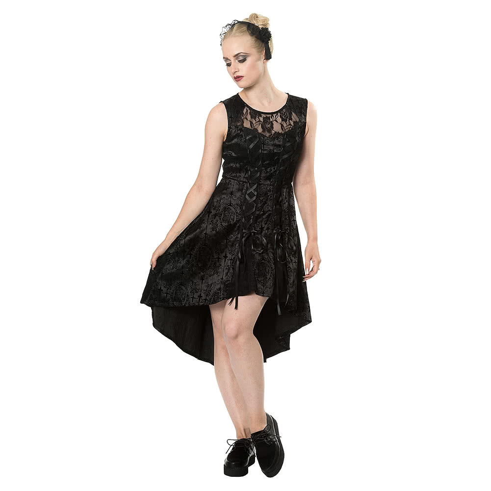 Banned Skelly Lady Flock Dress (Black)