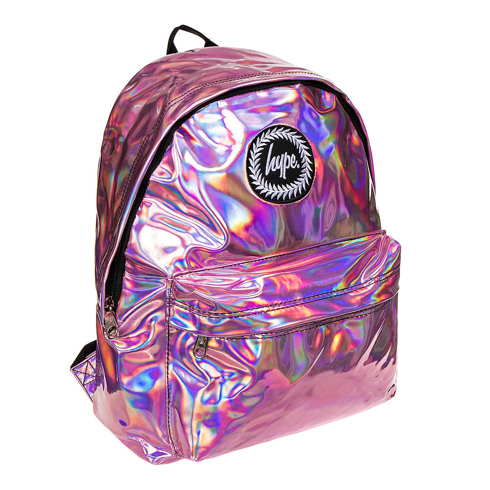 Hype Holographic Pink Backpack Cheap Rucksacks School Bags Uk
