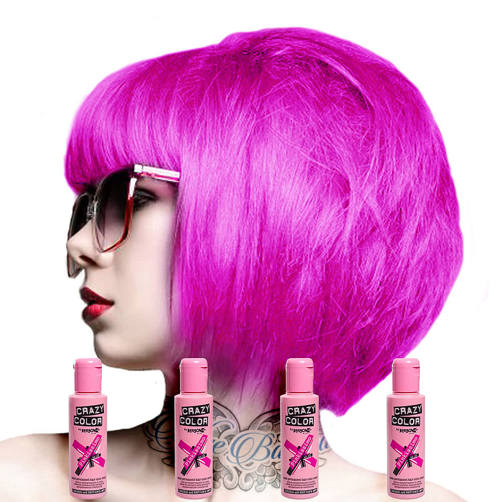 Crazy Color Semi-Permanent Hair Dye 4 Pack 100ml (Pinkissimo)