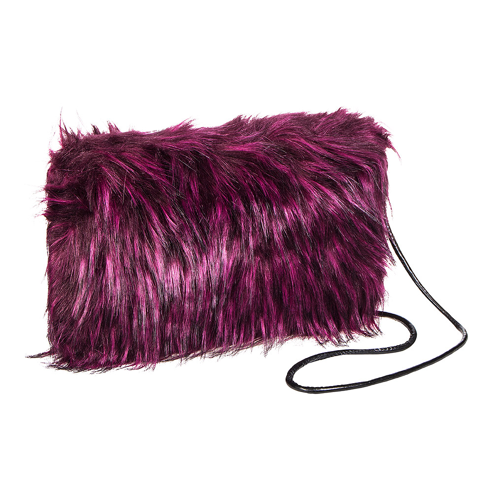b1e3335e1b Blue Banana Faux Fur Purple Clutch Bag