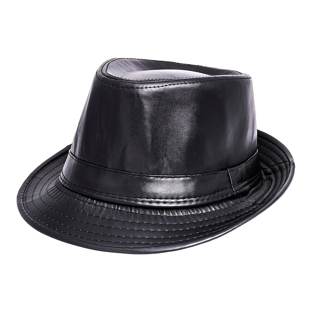 Blue Banana Leather Look Black Trilby 164c38664ad