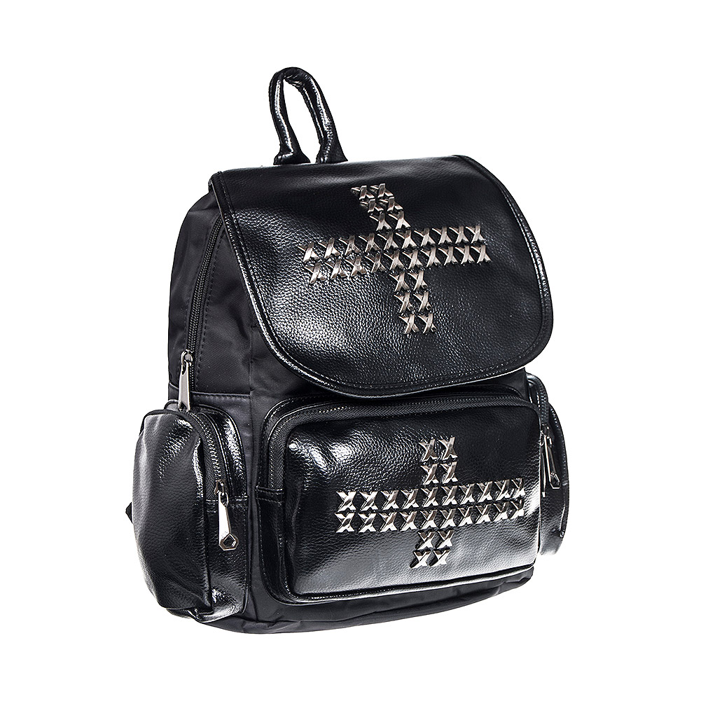 Blue Banana Studded Cross Backpack (Black)