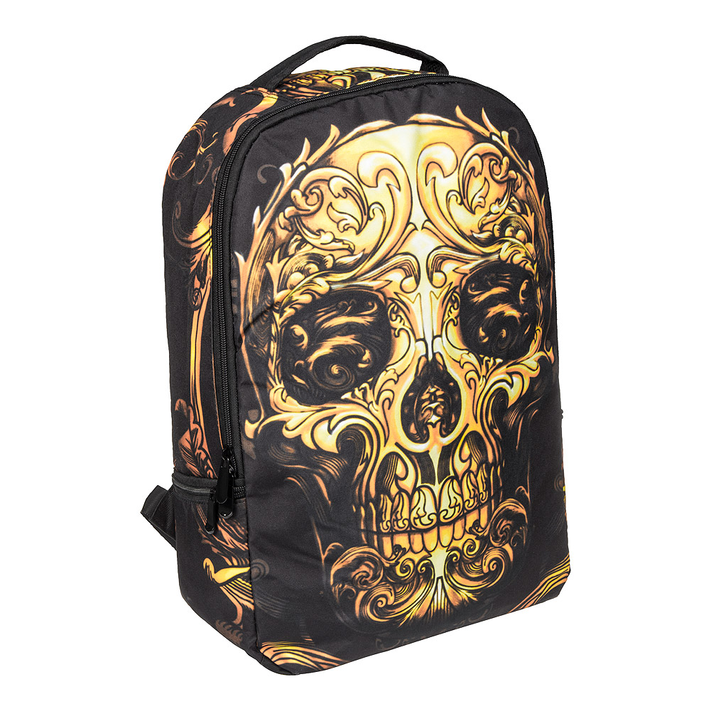 Blue Banana Sugar Skull Backpack (Orange/Black)
