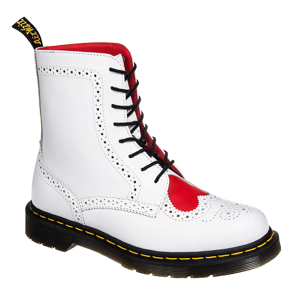 Dr Martens White And Red Bentley 2 Heart Boots, Ladies