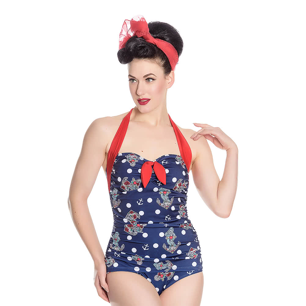 Hell Bunny St Tropez Swimsuit (Navy)