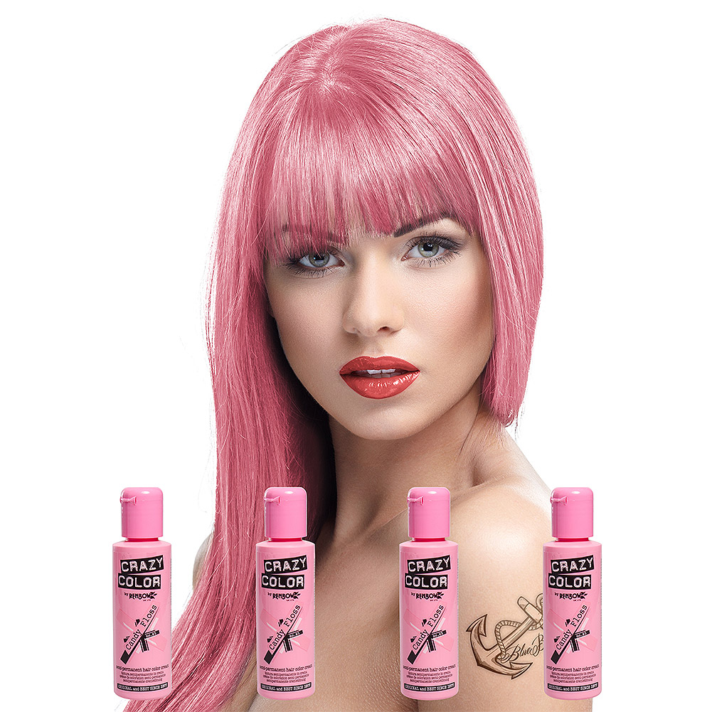 Crazy Color Semi-Permanent Hair Dye 4 Pack 100ml (Candy Floss Pink)