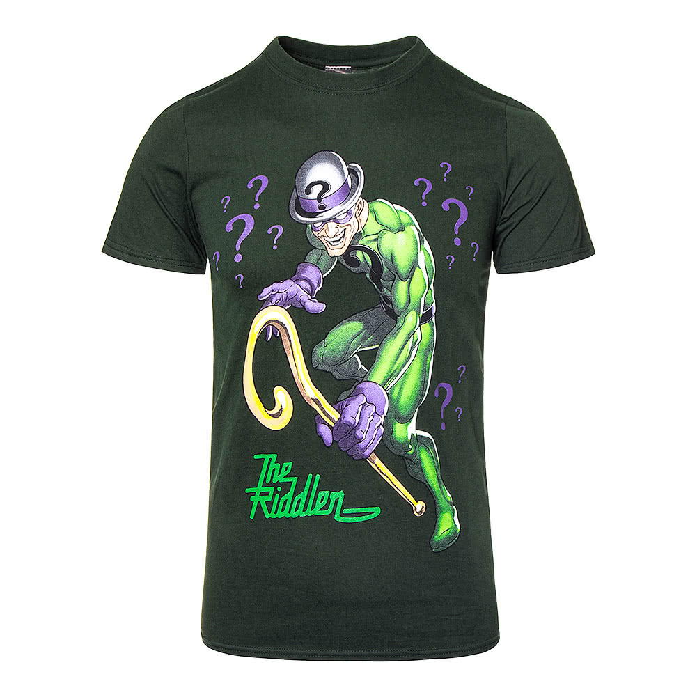 Batman the riddler black t shirt official batman for Riddler t shirt with bats