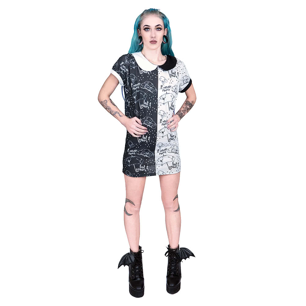 T shirt dress black and white - Fearless Illustration Stormy T Shirt Dress Black White