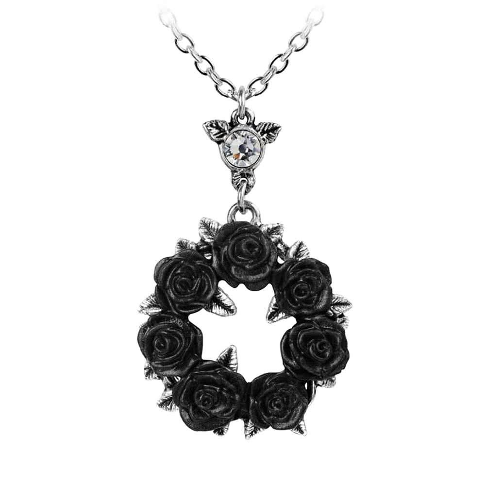 Alchemy gothic ring o roses silver and black pendant necklace alchemy gothic ring o roses pendant necklace silverblack aloadofball Images