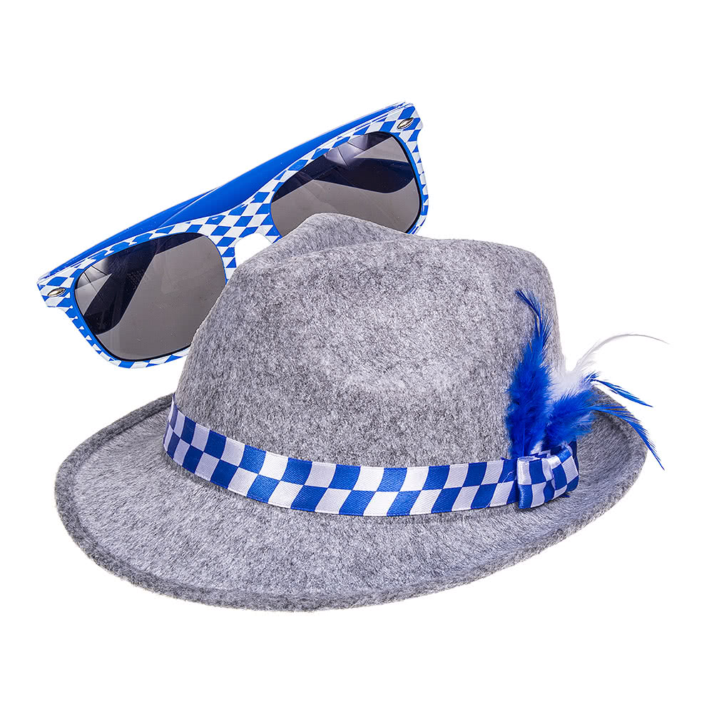 Blue Banana Oktoberfest Bavarian Hat & Sunglasses Set (Multicoloured)