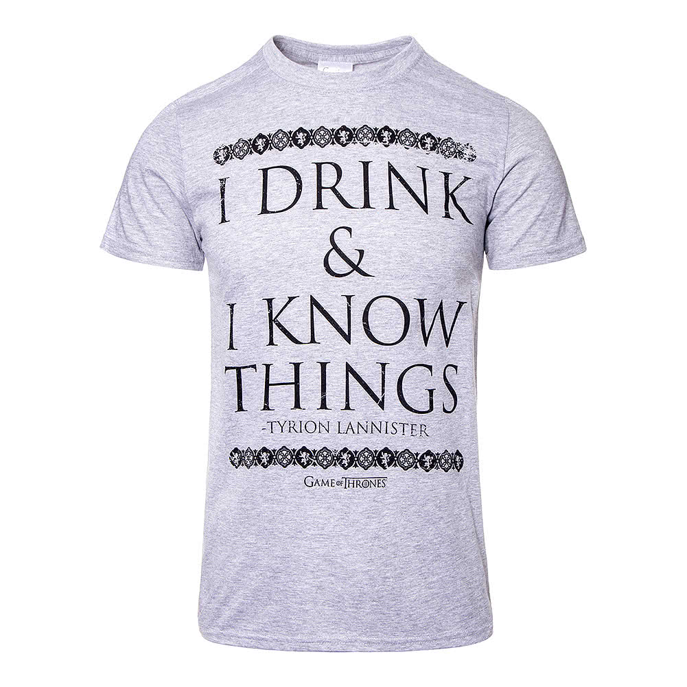 a21ee64e5 Game Of Thrones I Drink & I Know Things Grey Unisex T Shirt, Pop Culture  Tees UK