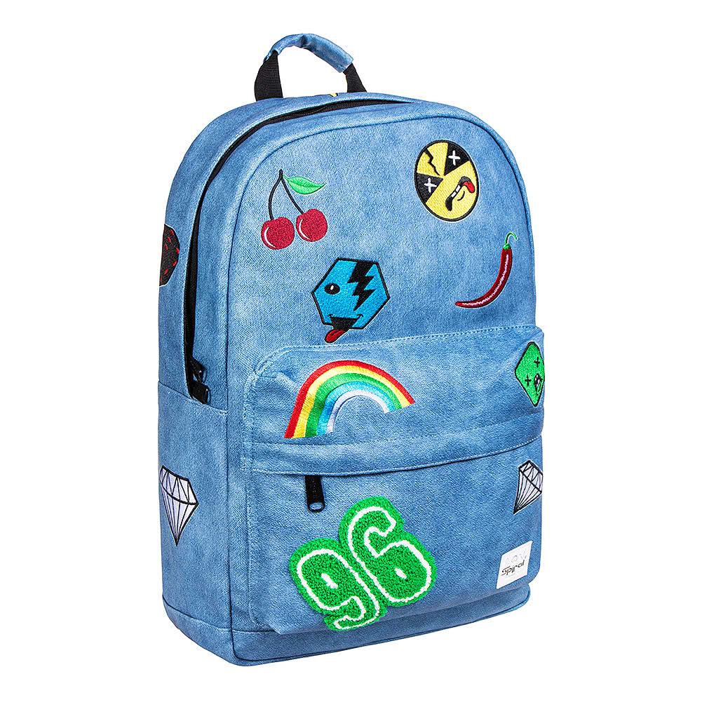Spiral Faux Denim Patch OG Backpack (Blue)