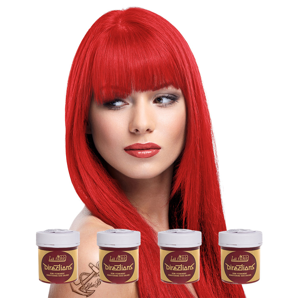 La Riche Directions Colour Hair Dye 4 Pack (Coral Red)