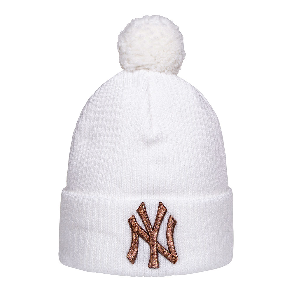 8e08c709444924 New Era White Gold NY Yankees Bobble Hat, New York Beanie