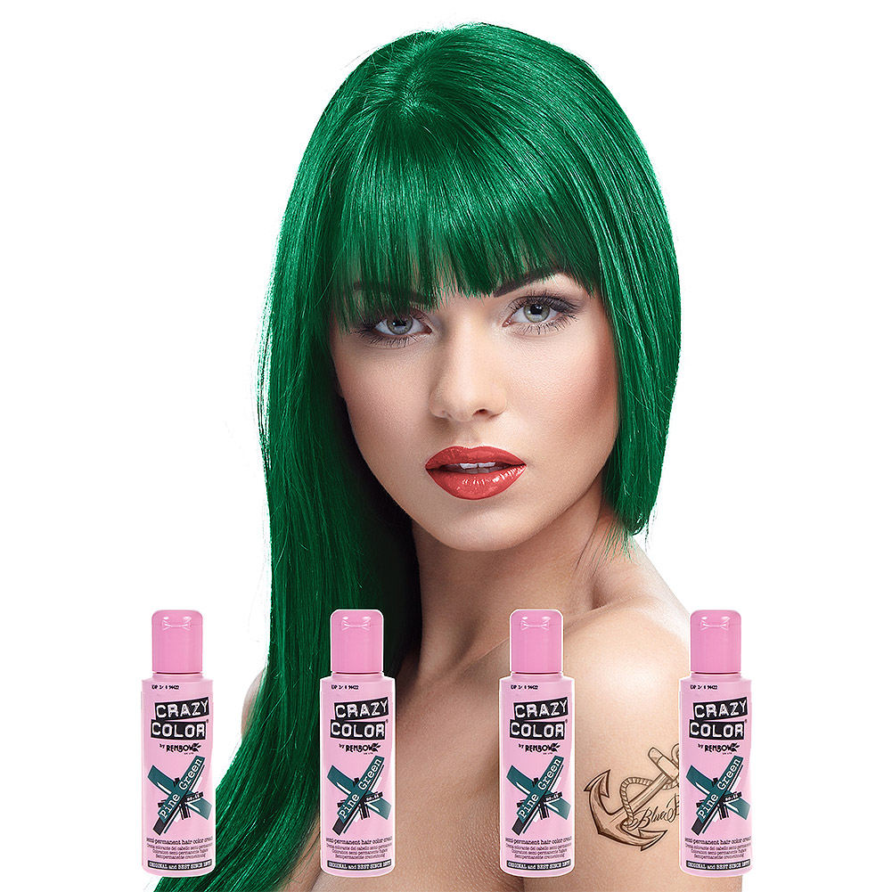 Crazy Color Semi-Permanent Hair Dye 4 Pack 100ml (Pine Green)