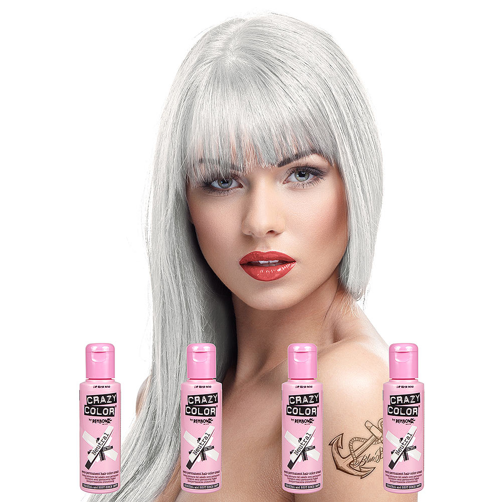 Crazy Color Semi Permanent Neutral Hair Dye 4 Pack 100ml White Hair