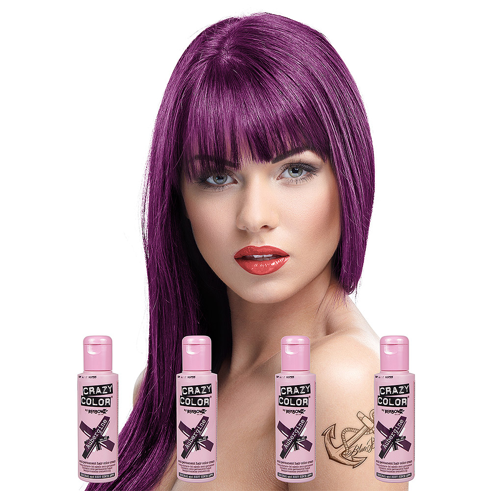 Crazy Color Semi-Permanent Hair Dye 4 Pack 100ml (Aubergine)