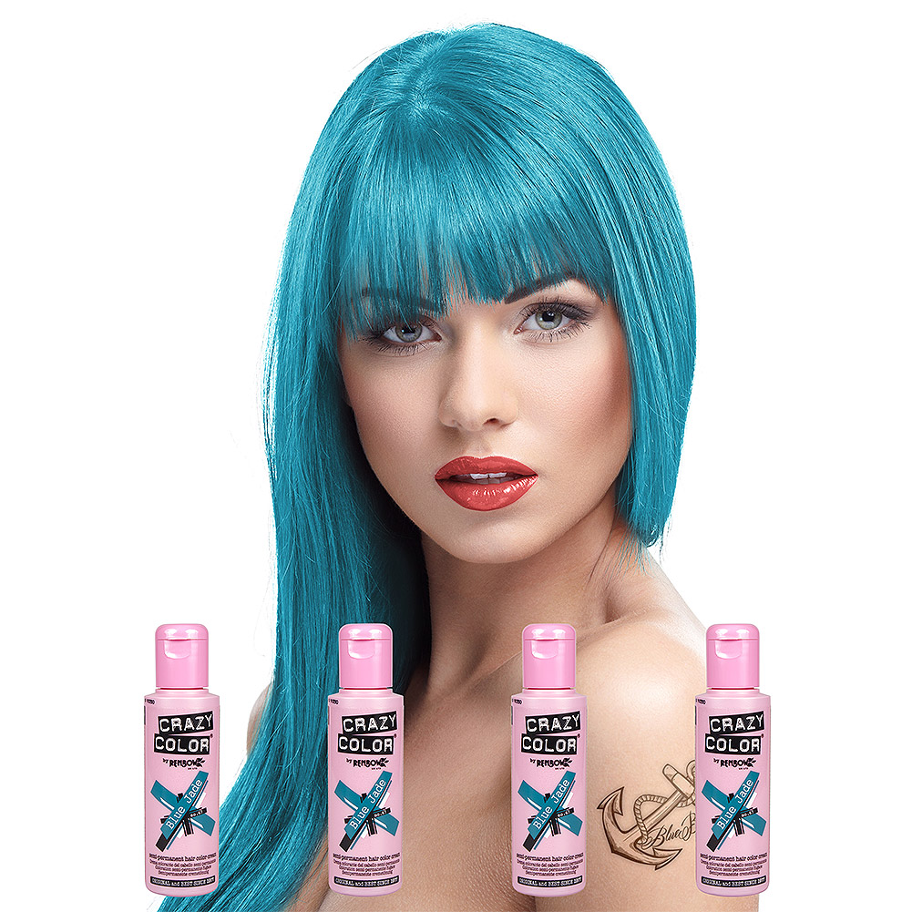 Crazy Color Semi-Permanent Hair Dye 4 Pack 100ml (Blue Jade)