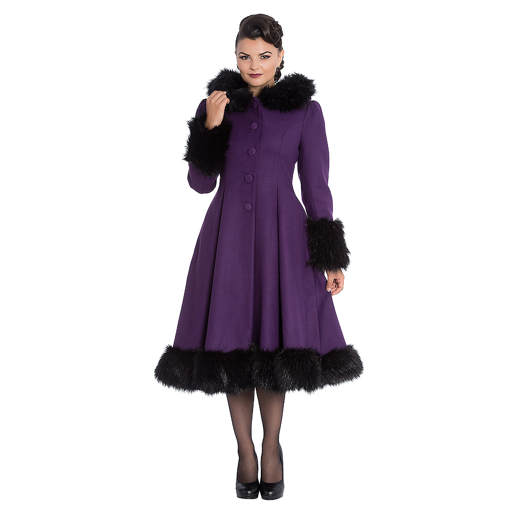 attractive price durable in use choose latest Details about Hell Bunny Purple Elvira Hooded Coat, Womens Vintage Faux Fur  Winter Jacket