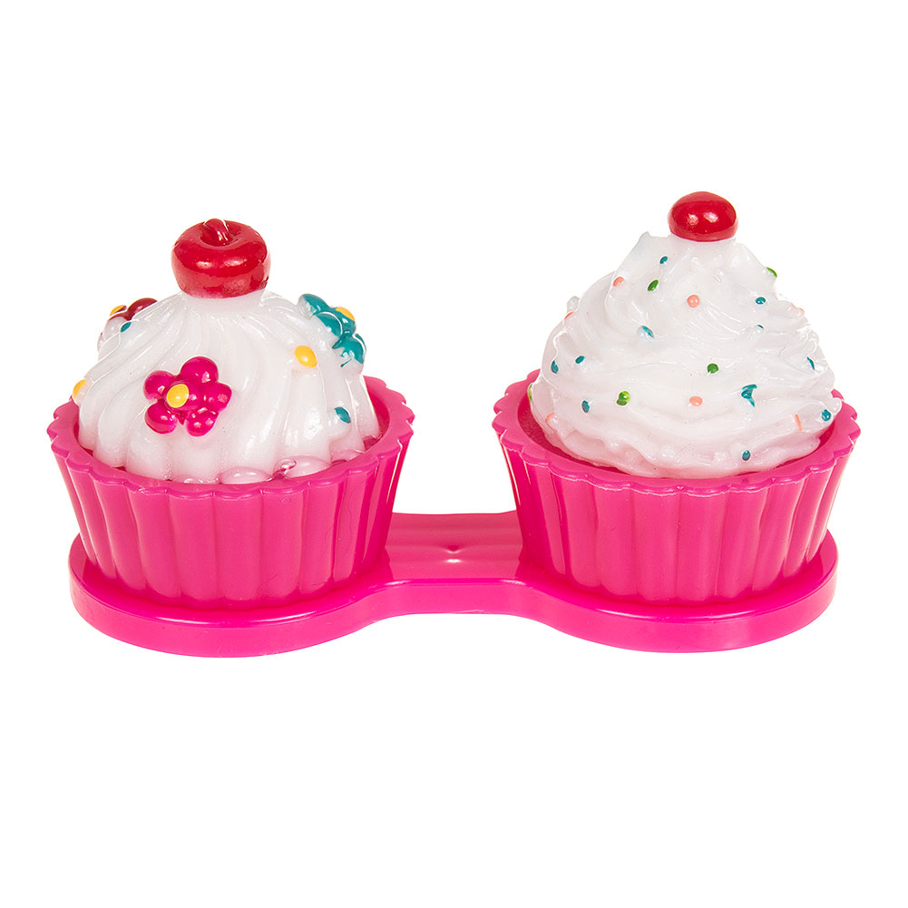 Coloured Contacts Cupcake Lens Case (Dark Pink)