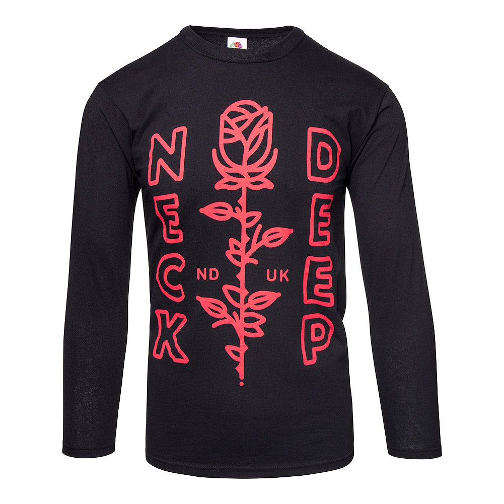 Official Neck Deep Red Rose Black Long Sleeve Top e8b308542