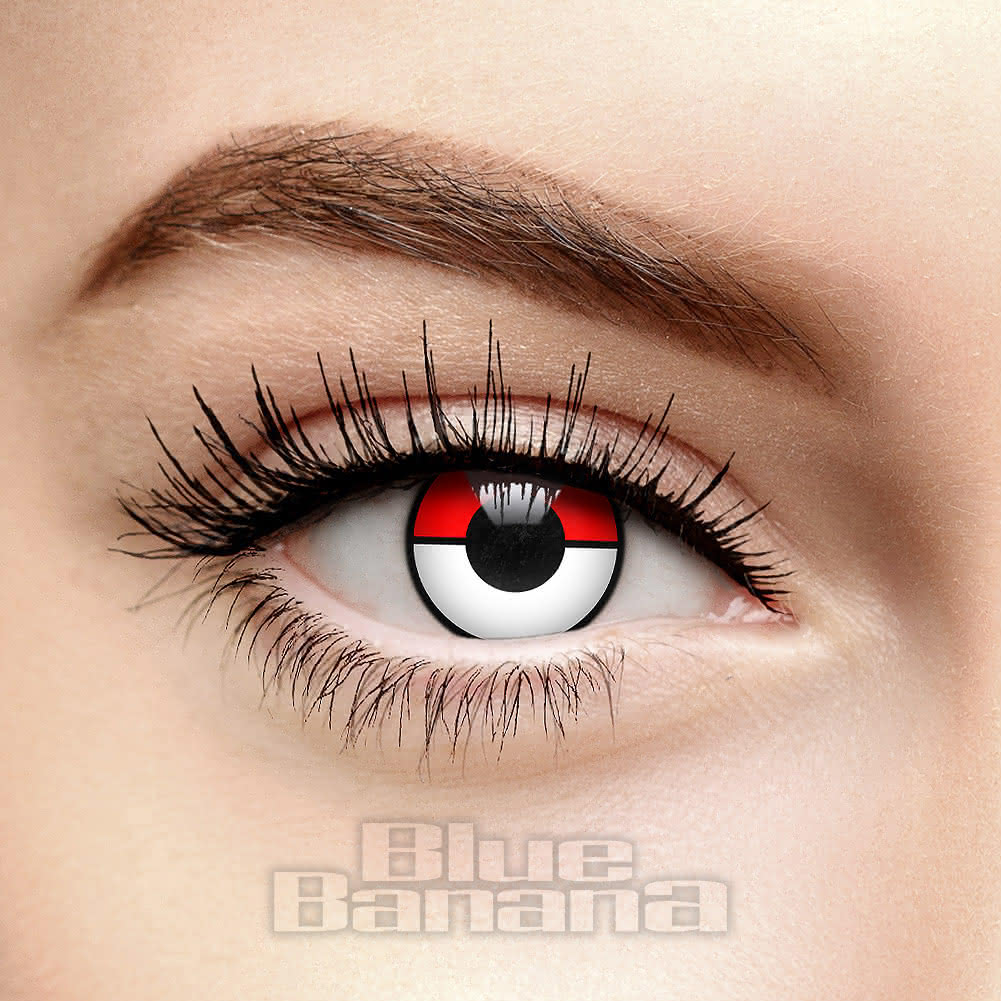 Pokemon 90 Day Coloured Contact Lenses (Red/White)