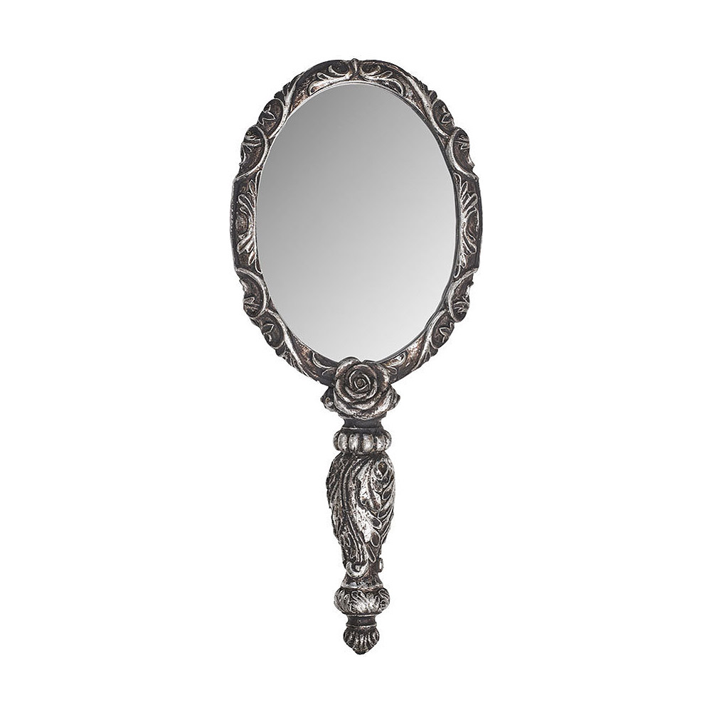 alchemy gothic silver baroque rose hand mirror the vault