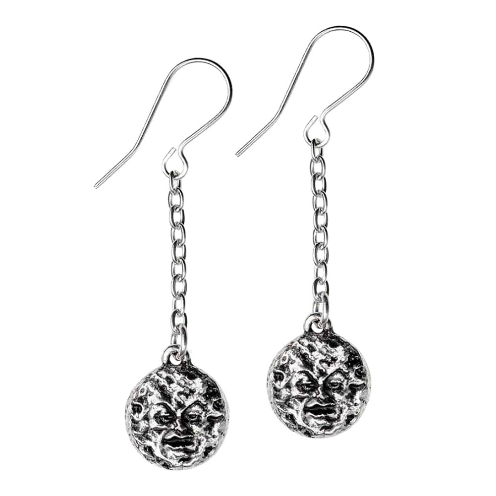 Alchemy Gothic M'era Luna Moon Earrings (Silver)