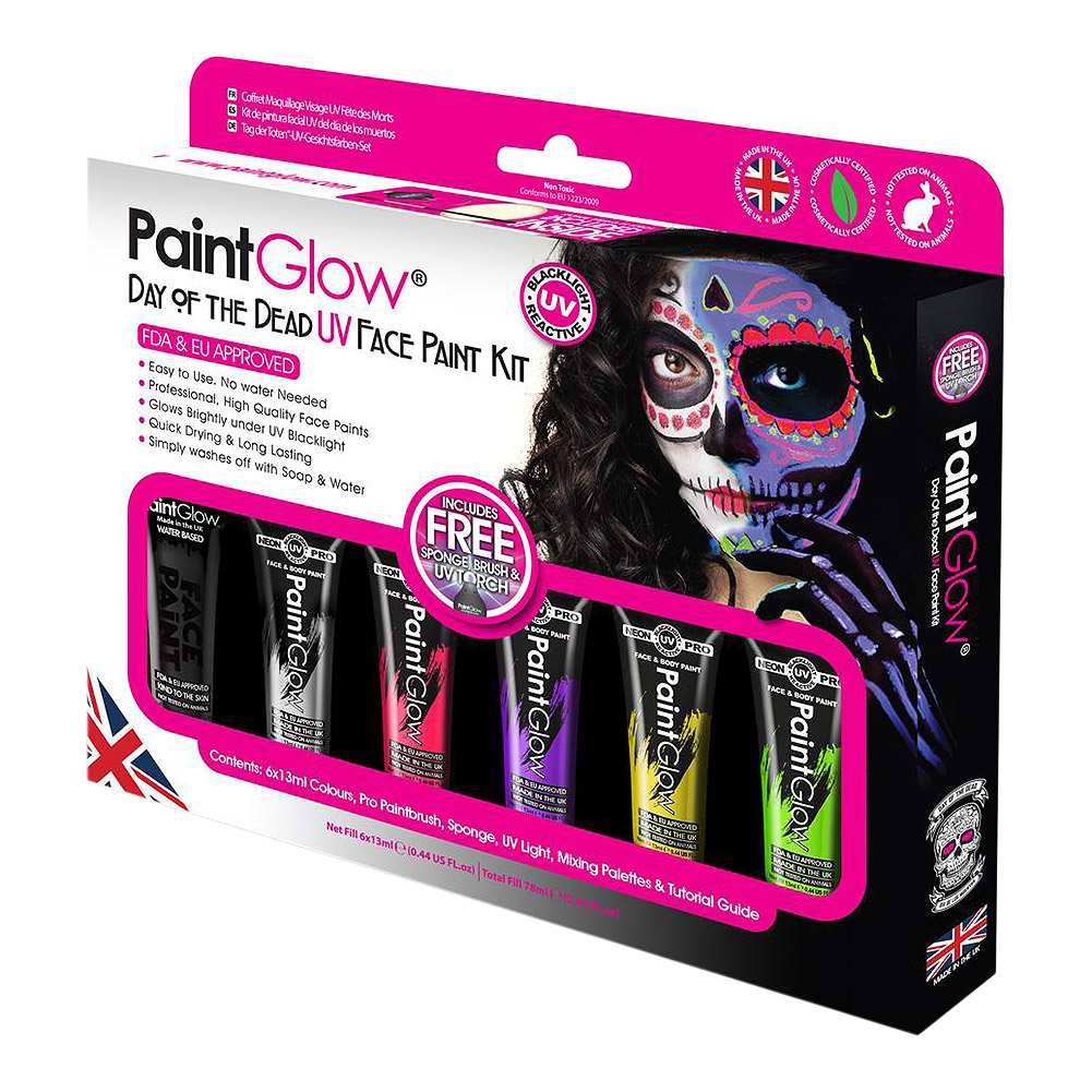 Paintglow Day Of The Dead UV Face Paint Kit (Multicoloured)