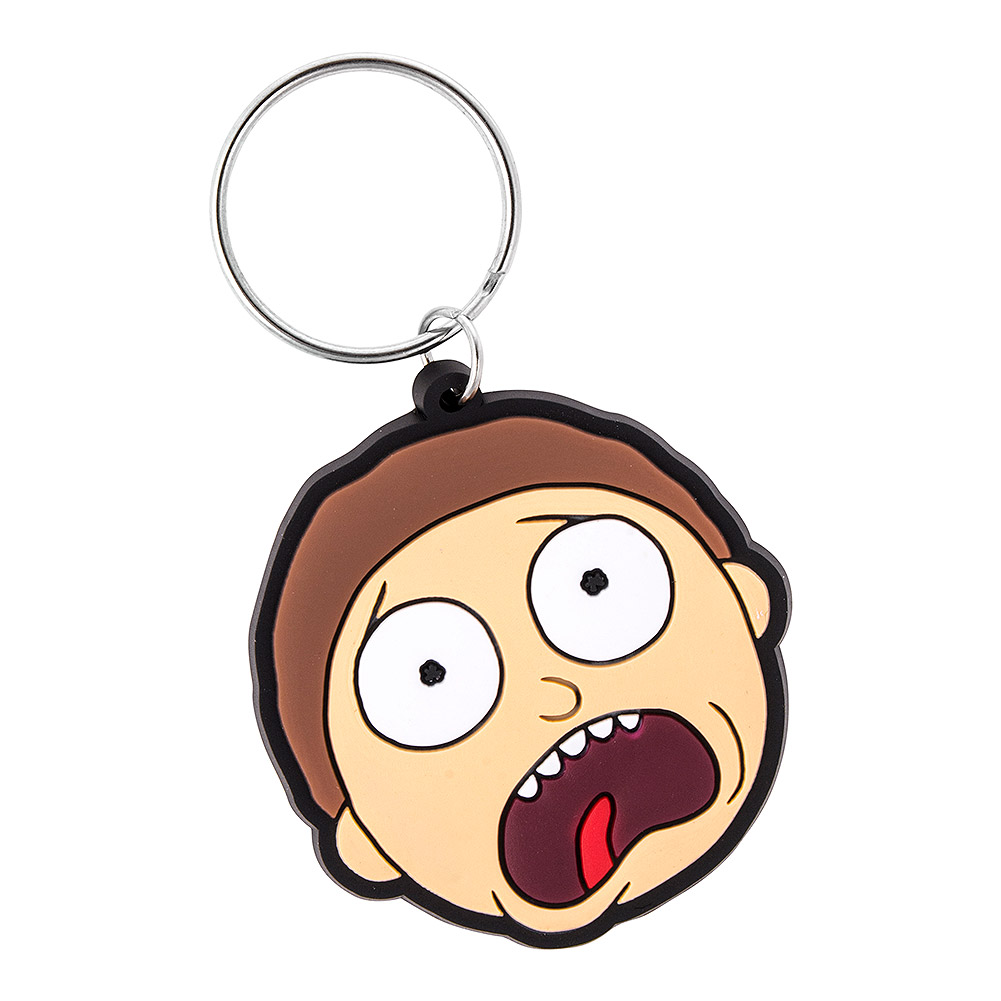 rick and morty face keyring official pop culture merchandise uk