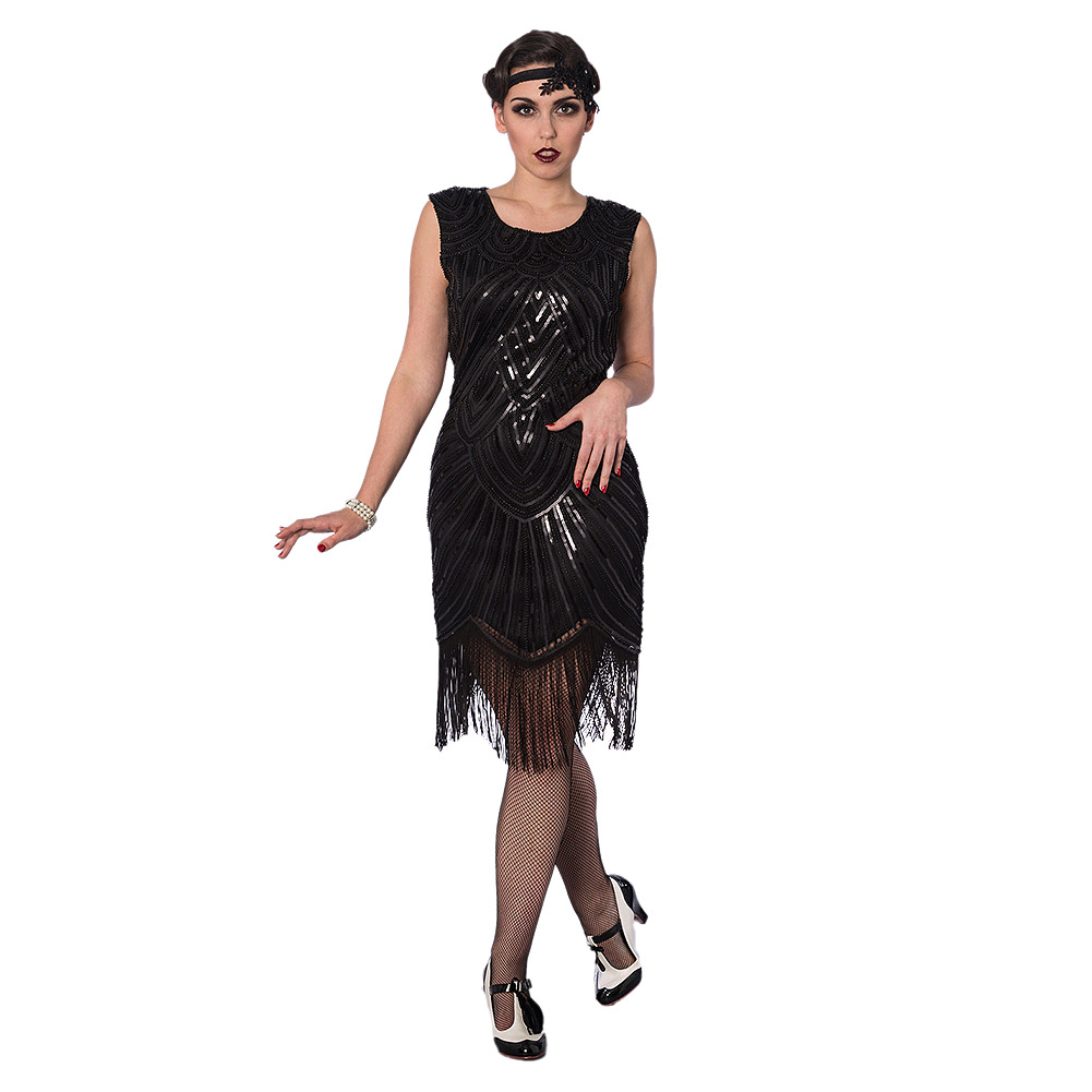 Gatsby Dresses: Banned Great Gatsby Dress, Black 20s Sequin Flapper Dress