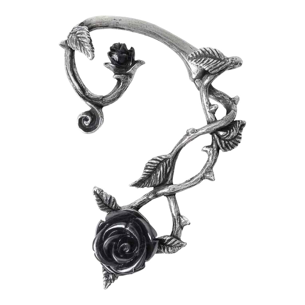 Alchemy Gothic Wild Rose Earring (Black/Silver)