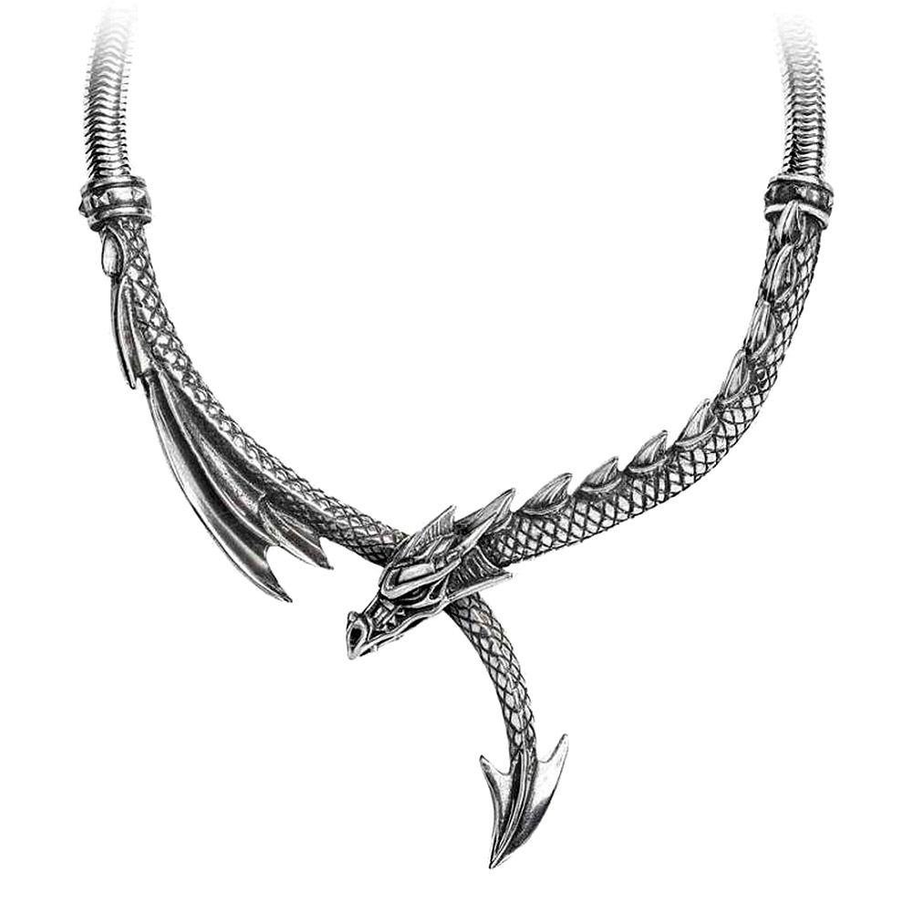 Alchemy Gothic Dragon's Lure Necklace (Silver)