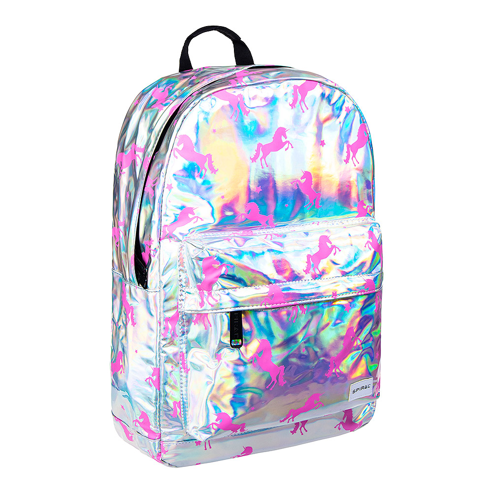 Spiral Unicorns Backpack (Silver/Pink)